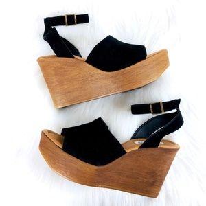 Steve Madden KAMRY Suede Faux Wood Platform Sandal